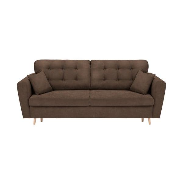 Canapea extensibilă cu 3 locuri și spațiu pentru depozitare Cosmopolitan Design Grenoble, maro