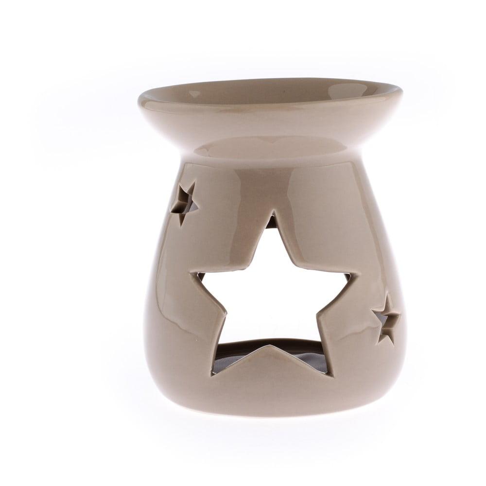 Světle hnědá keramická aromalampa s motivem hvězdy Dakls