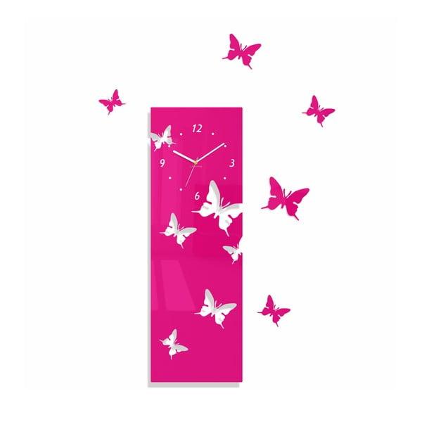 Hodiny z plexiskla Butterflies Away Pink