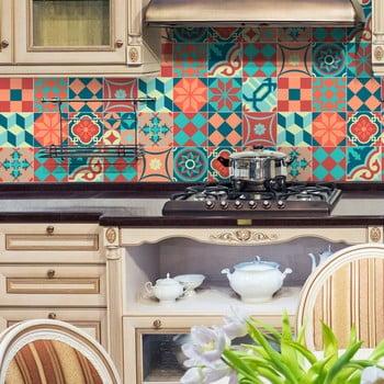 Set 16 autocolante de perete Ambiance Tiles Azulejos Colorful Vintage Style, 10 x 10 cm de la Ambiance