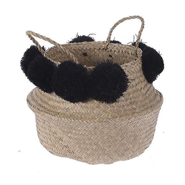 Pletený košík InArt Black Pom Pom