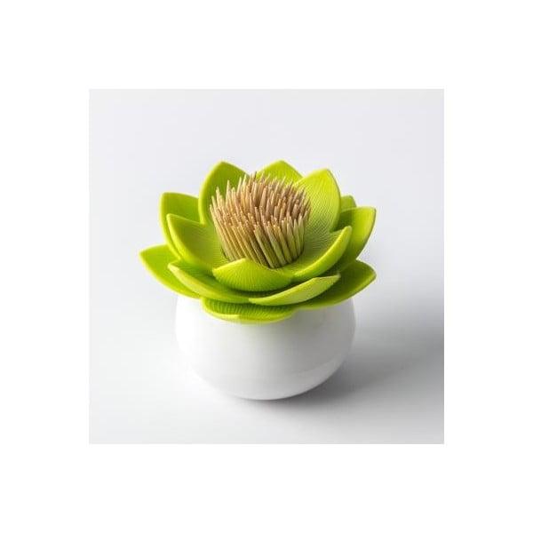 Stojánek na párátka QUALY Lotus Toothpick, bílý-zelený