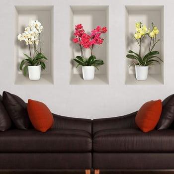 Set 3 autocolante 3D pentru perete Ambiance Orchids de la Ambiance