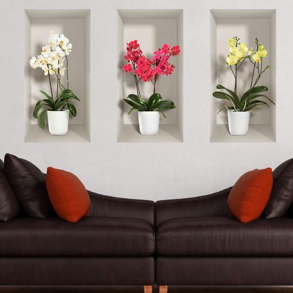 Set 3 autocolante 3D pentru perete Ambiance Orchids