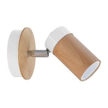 Aplică perete cu detalii din lemn Baron, alb