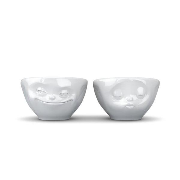 Komplet 2 białych porcelanowych zakochanych miseczek 58products, 100 ml