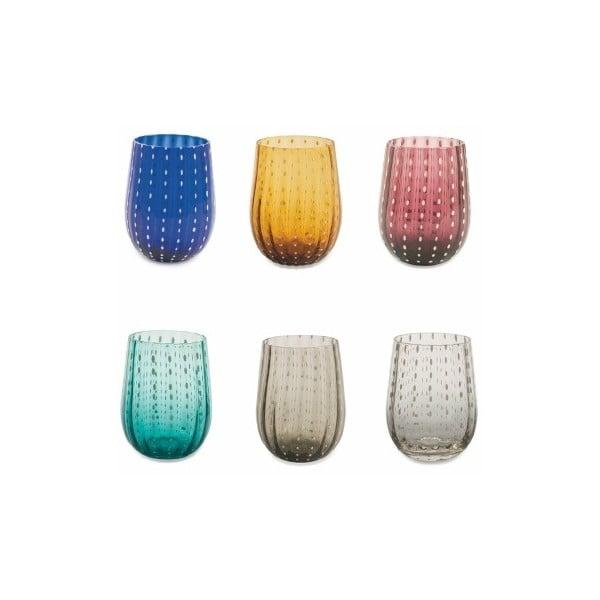 Sada 6 barevných sklenic na vodu Villa d'Este Shiraz, 240ml