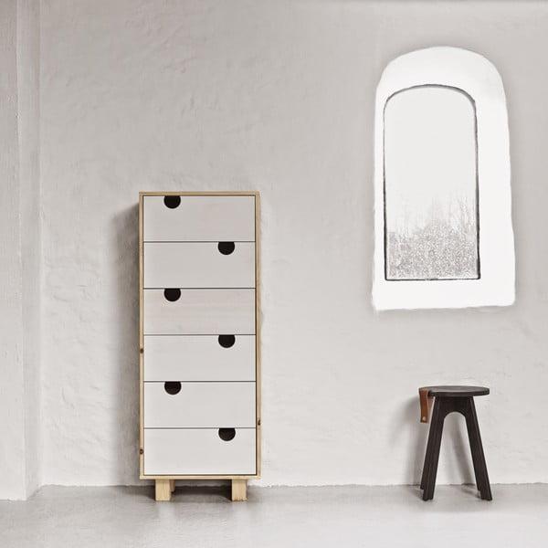 Komoda se šesti zásuvkami Karup House Natural/White