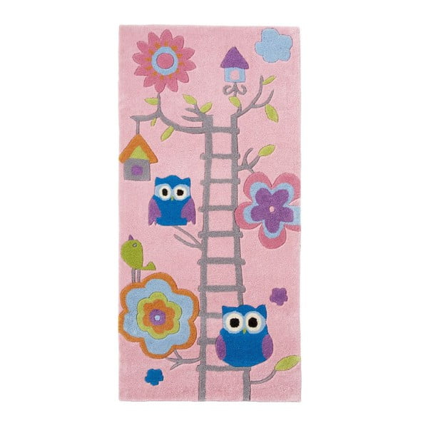 Covor țesut manual pentru copii Think Rugs Hong Kong Pinkie, 70x140cm, roz