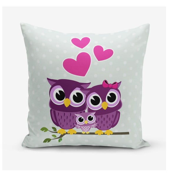 Față de pernă Minimalist Cushion Covers Hearts Owls, 45 x 45 cm