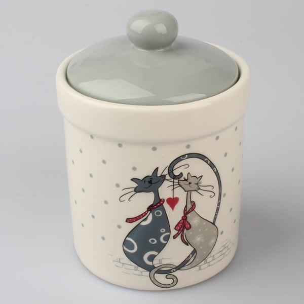 Recipient ceramic cu capac Dakls Cats Couple