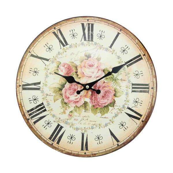 Nástěnné hodiny Antic Line Pink Roses, 34 cm