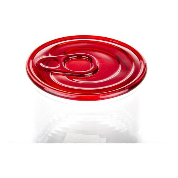 Skleněná dóza s červeným víkem Kaleidos Can, 10,5x9cm