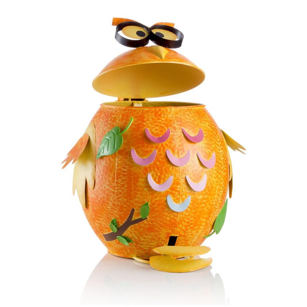 Oranžový železný odpadkový koš ve tvaru sovičky Brandani