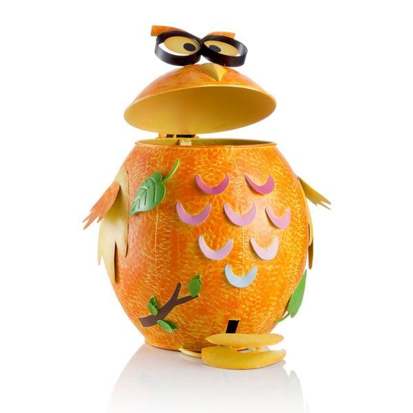 Pomarańczowy żelazny kosz na śmieci w kształcie sowy Brandani,10l