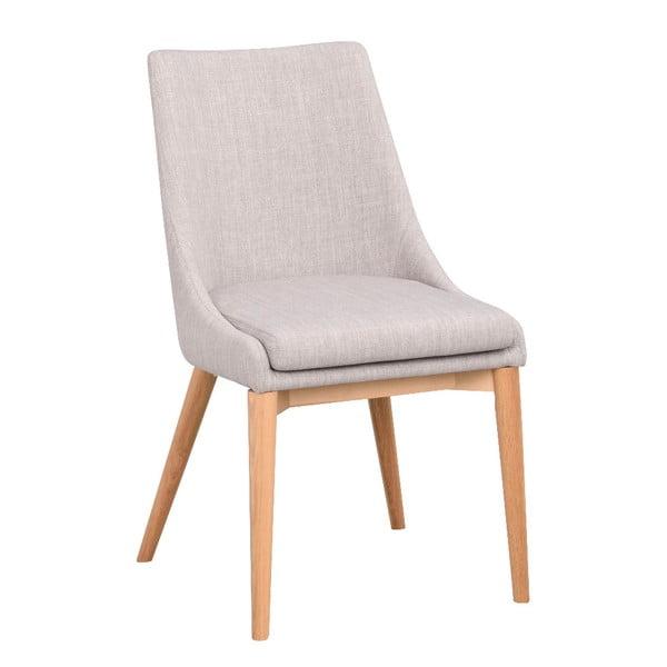 Jasnoszare tapicerowane krzesło do jadalni z brązowymi nogami Rowico Bea