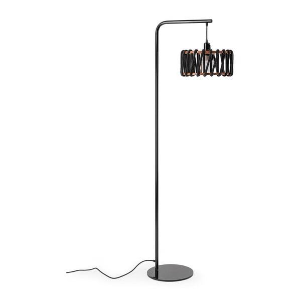 Stojací lampa s černou konstrukcí a malým černým stínidlem EMKO Macaron