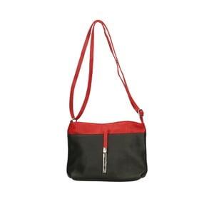 Černá kožená kabelka s červenými detaily Roberto Buono Meril