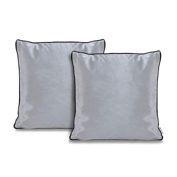 Zestaw 2 szarych poszewek na poduszkę DecoKing Rimavelvet Silver, 45x45 cm