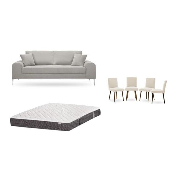 Set canapea crem cu 3 locuri, 4 scaune crem, o saltea 160 x 200 cm Home Essentials