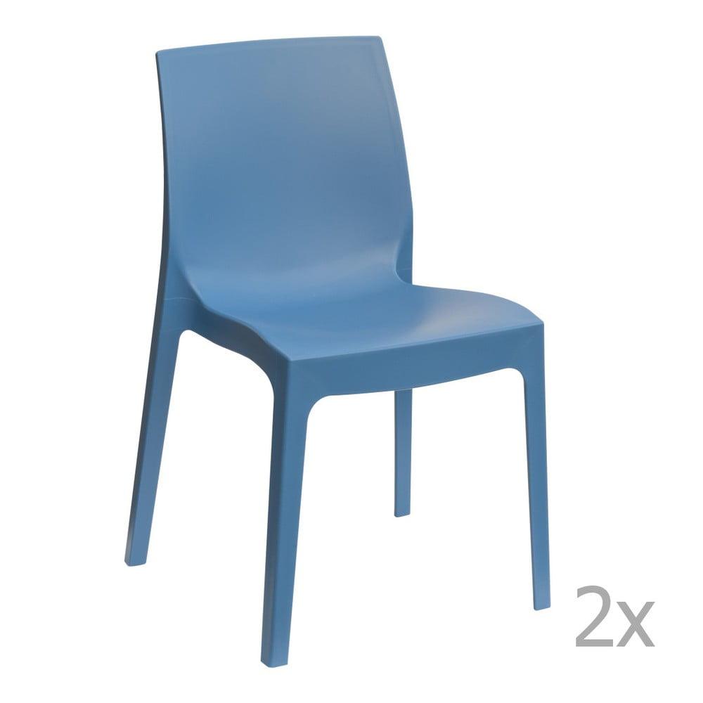 Sada 2 modrých jídelních židlí Castagnetti Rome