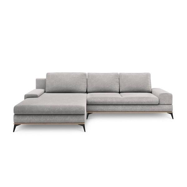 Canapea extensibilă tip colțar cu șezlong pe partea stângă Windsor & Co Sofas Planet, gri deschis