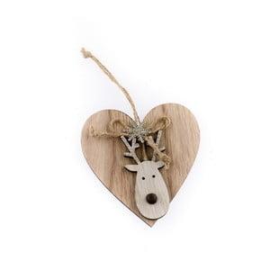Dřevěné závěsné srdce se sobem Dakls Christmas
