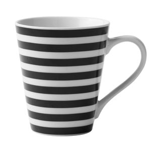 Černo-bílý porcelánový hrnek KJ Collection Striped, 300 ml