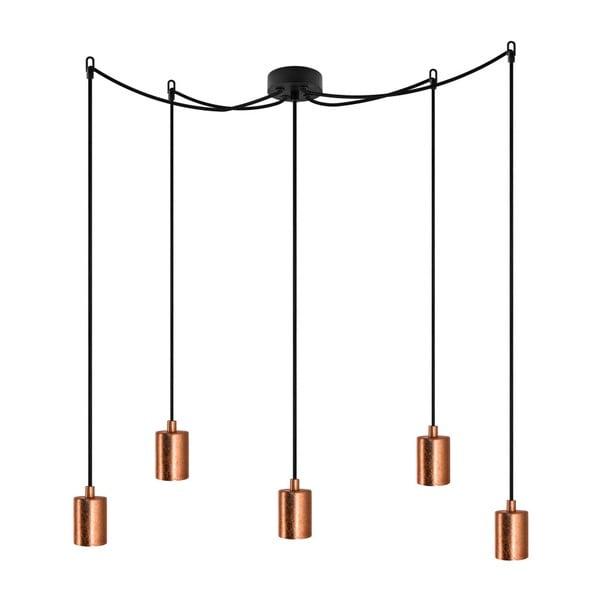 Czarna lampa wisząca z 5 kablami i oprawami żarówek w kolorze miedzi Bulb Attack Cero