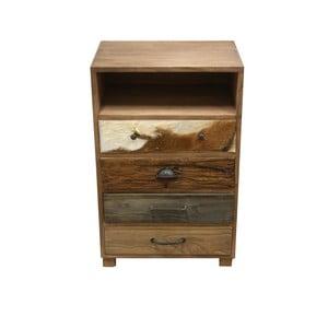 Dřevěná komoda se 4 zásuvkami a detaily z kozí kůže HSM Collection Texas