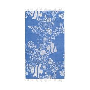 Prosop baie hammam Kate Louise Helene, 165 x 100 cm, albastru