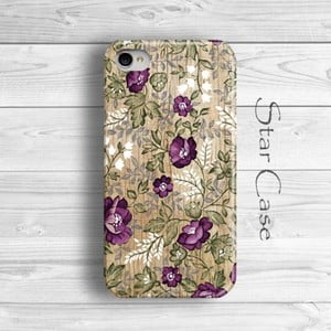 Obal na iPhone 4/4S Wood Floral Purple