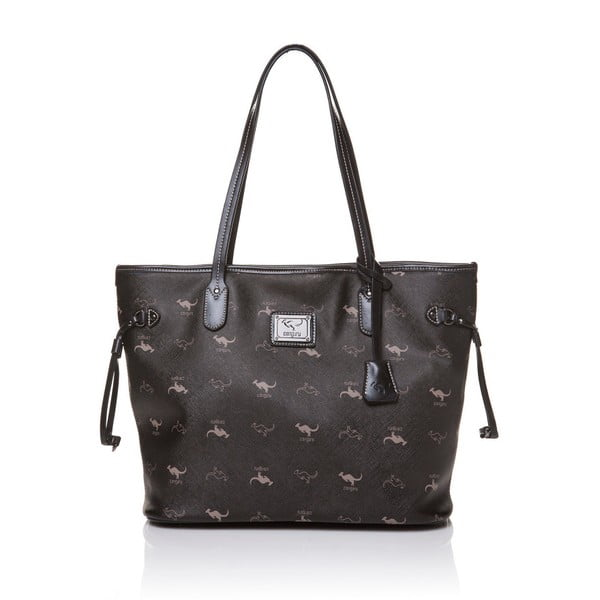 Kožená kabelka přes rameno Canguru Shopper, černá