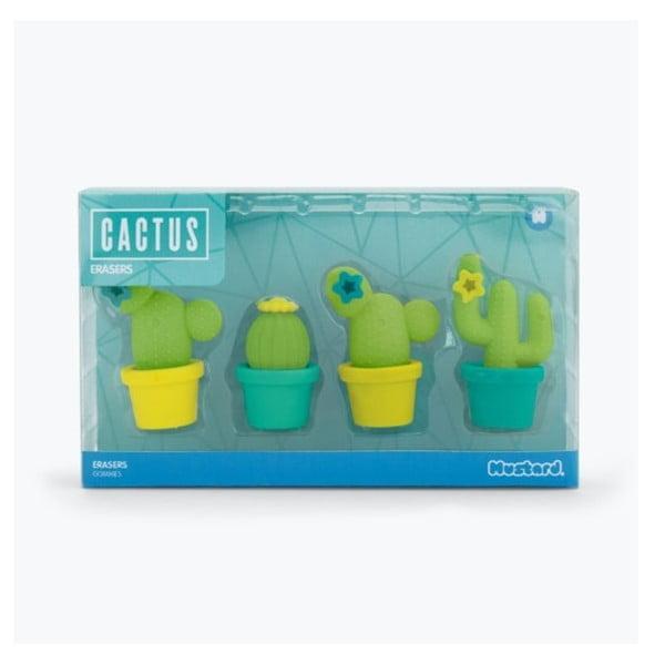 Sada 4 gum na papír Just Mustard Cactus