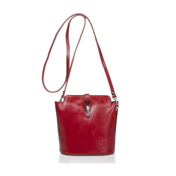 Červená kožená kabelka Massimo Castelli Silverio