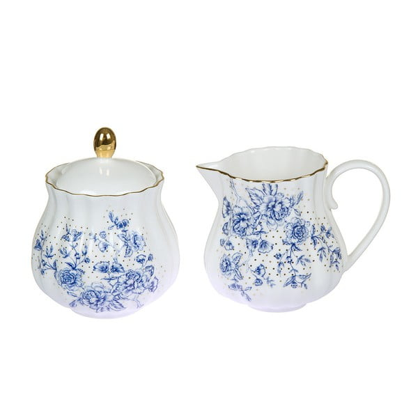 Cană pentru lapte și zaharniță din porțelan Santiago Pons Bohem, alb - albastru