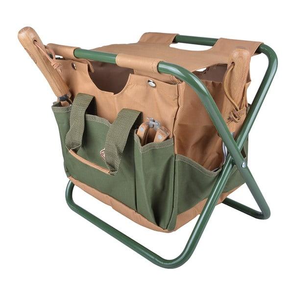 Krzesełko składane z torbą i kieszonkami na akcesoria ogrodowe Esschert Design Pond