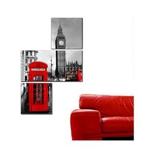 3dílný obraz Asymetric London BigBen, 60x90 cm