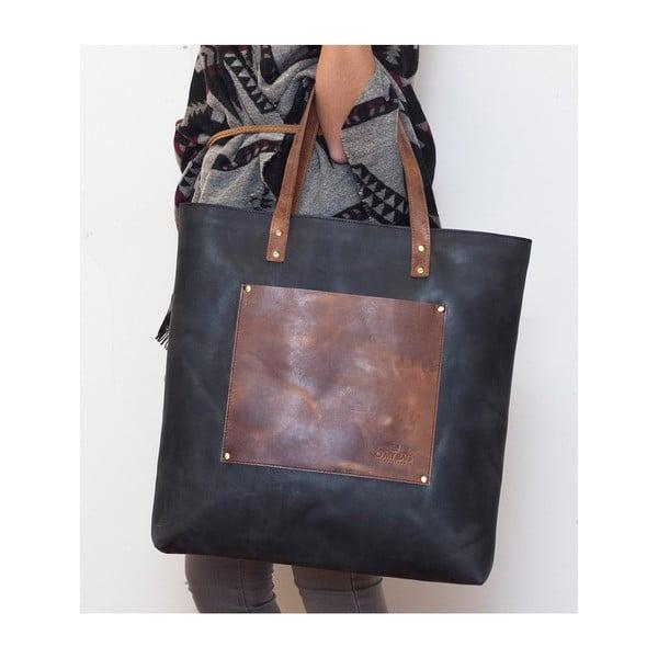 Kožená vintage maxi taška Lou's, šedá