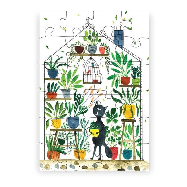 Puzzle z recyklovaných materiálů Pucle Kocúr botanikom, 24dílků