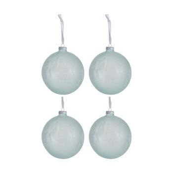 Set 4 globuri din sticlă pentru Crăciun J-Line Xmas, ø 12 cm, alb - albastru imagine