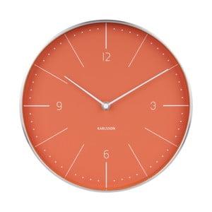Ceas de perete Karlsson Normann, ⌀ 28 cm, roșu deschis cu detalii argintii