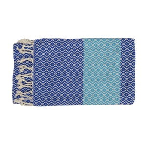 Prosop țesut manual din bumbac premium Oasa, 100 x 80 cm, albastru