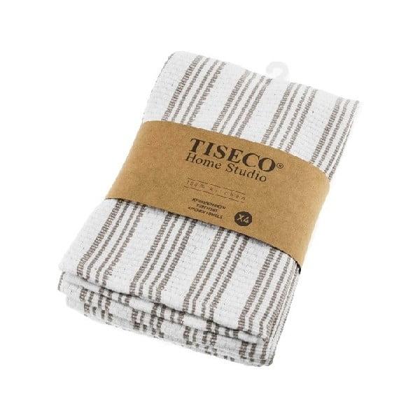 Sada 4 hnědých bavlněných utěrek Tiseco Home Studio, 50 x 70 cm