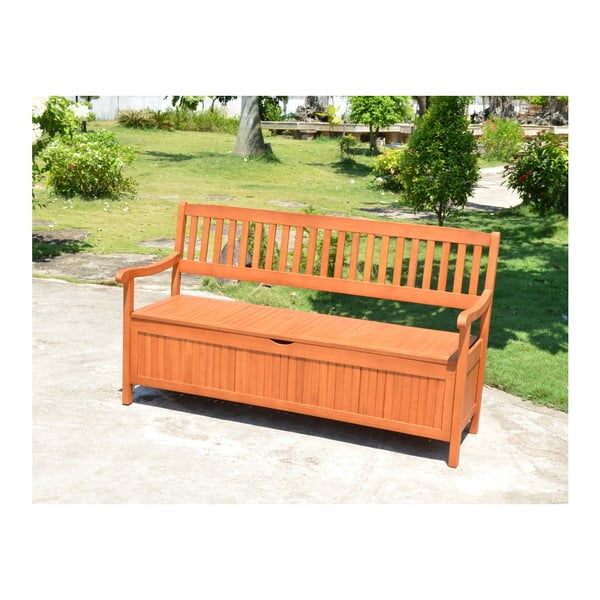 Zahradní lavice s úložným prostorem z eukalyptového dřeva ADDU Houston, délka157cm