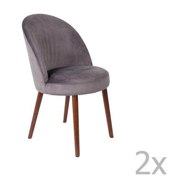 Set 2 scaune Dutchbone Barbara, gri