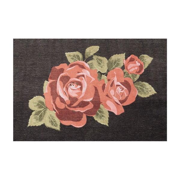 Černý koberec s motivem růží Kare Design, 240 x 170 cm