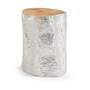 Odkládací stolek z teakového dřeva ve stříbrné barvě La Forma Hoko