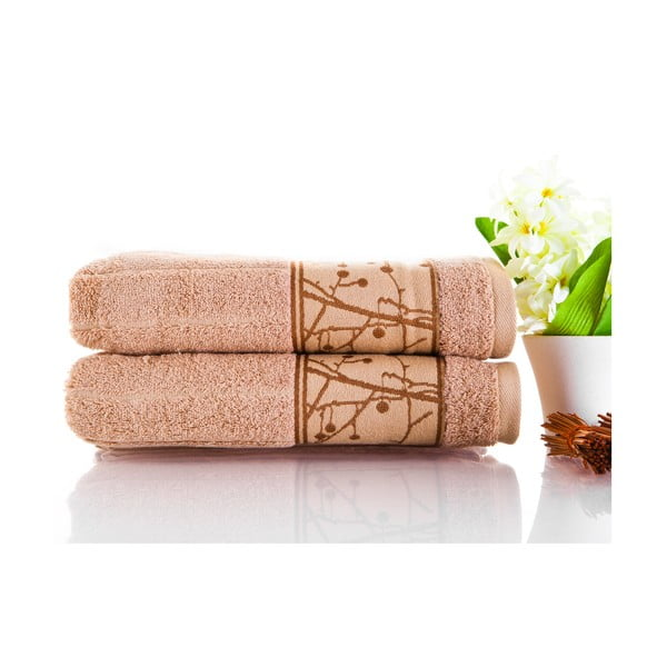 Sada 2 ručníků Wave Brown, 50x100 cm