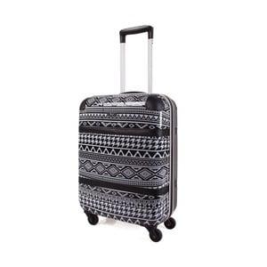 Černo-bílý vzorovaný cestovní kufr SKPA-T